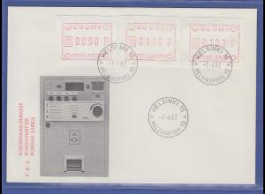 Finnland ATM Nr. 1 FDC 1.4.82 mit wertvoller ABART WEISSES Papier ohne Unterdr.