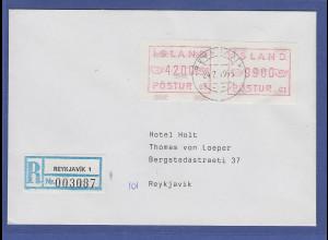 Island ATM Nr. 1 Aut.-Nr. 01 Werte 4200 und 9900 auf Orts-R-Brief 24.2.93