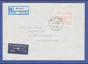 Island ATM Nr. 1 Aut.-Nr. 01 Wertsufe 2150 auf R-Brief nach Deutschland