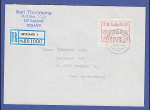 Island ATM Nr. 1 Aut.-Nr. 01 Wertstufe 2150 auf R-Brief nach Deutschland