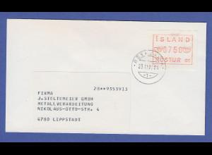 Island ATM Nr. 1 Aut.-Nr. 01 Wertstufe 750 auf Brief nach Lippstadt