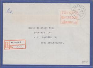 Island ATM Nr. 1 Aut.-Nr. 01 Wertstufe 4200 auf R-Brief nach D, 3.6.1986