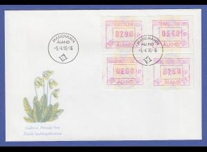 Aland 1995 Sonder-ATM MARE BALTICUM Satz 200-230-290-340 auf offiz. FDC