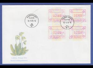 Aland 1995 ATM Neues Postemblem ohne Wz. Satz 200-230-290-340 auf offiz. FDC