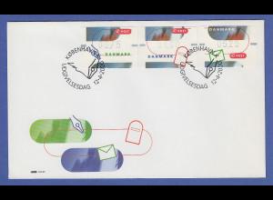 Dänemark ATM Kampagne Briefeschreiben, 3 Motive auf offiz. FDC 12.4.2000
