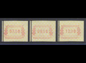 Österreich FRAMA-ATM Sonder-Ausgabe ÖVEBRIA 2001 Mi.-Nr. 5 Satz 7-8-12 **