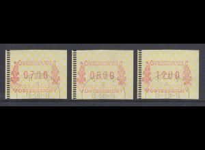 Österreich FRAMA-ATM Sonder-Ausgabe ÖVEBRIA 2001 Mi.-Nr. 5 Satz 7-8-12 ET-O