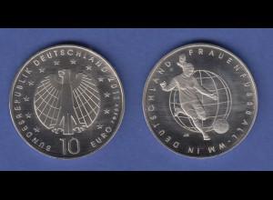 10-€-Gedenkmünze 2011 Frauenfußball-WM in Deutschland, stempelglanz