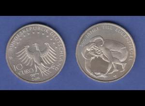 10-€-Gedenkmünze 2011 Till Eulenspiegel, stempelglanz