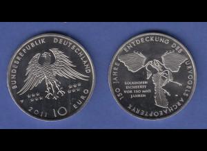 10-€-Gedenkmünze 2011 Urvogel Archaeopterix, stempelglanz