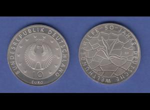 10-€-Gedenkmünze 2012 50 Jahre Deutsche Welthungerhilfe, stempelglanz
