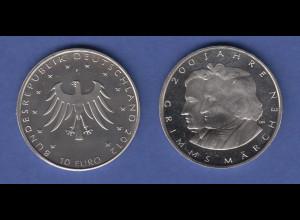10-€-Gedenkmünze 2012 Grimms Märchen: Jakob und Wilhelm Grimm, stempelglanz