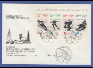 Bundesrepublik 1971 Olympische Spiele Sapporo Block 6 auf FDC mit O MÜNCHEN