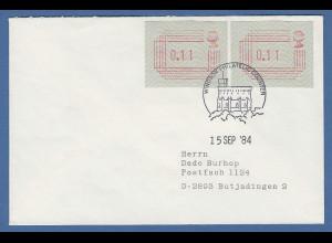 Großbritannien FRAMA-ATM 1.Ausgabe Brief mit 2 ATM 0.11 Windsor 15.9.84