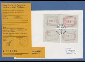 Großbritannien FRAMA-ATM 1.Ausgabe R-FDC London 1.5.84 mit 4 ATM
