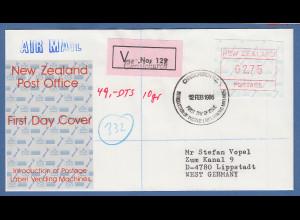 Neuseeland Frama-ATM Nr. 2 Wert 2,75 auf R-FDC von CHRISTCHURCH nach Deutschland