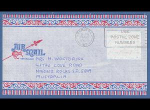 Neuseeland Frama-ATM Nr. 2 Wert 1,00 auf Brief von REMUERA nach Australien