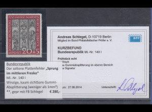 Bundesrepublik 1951 Marienkirche mit PLF Sprung im Fresko, Mi.-Nr. 140 I **