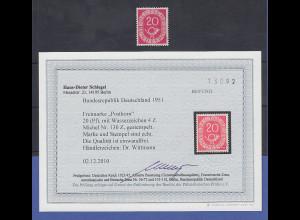 Bundesrepublik Posthorn 20Pfg.-Wert mit WZ 4Z, Mi-Nr. 130Z gest. Befund Schlegel
