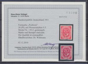 Bundesrepublik Posthorn 20Pfg.-Wert WZ-Abart Mi-Nr. 130Z gest. Befund Schlegel