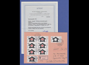 Bundesrepublik 1992 Mi.-Nr. 1620 F OHNE GLOBUS IM HAUS auf Wertbrief. Top-Beleg