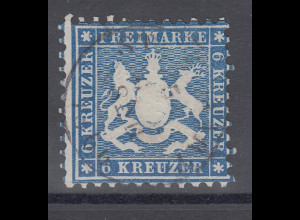 Altdeutschland Württemberg 6 Kreuzer blau Mi.-Nr. 27 gestempelt