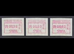 Südwestafrika FRAMA-ATM Nr.1 Aut.-Nr. PT-03 Satz 16-30-40 aus OA **
