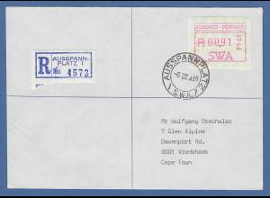Südwestafrika FRAMA-ATM Nr.1 Aut.-Nr PT-02 hoher Wert 0,91 Rand auf R-Brief