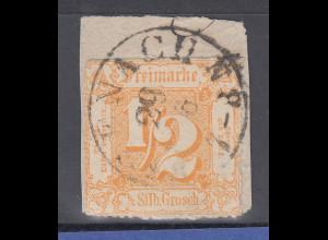 Altdeutschland Thurn und Taxis Mi.-Nr. 37 gestempelt auf kl. Briefstück