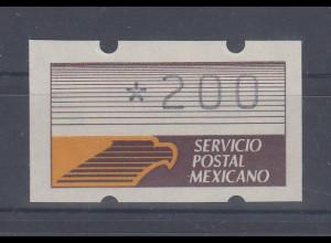 Mexiko Klüssendorf-ATM auf beigem Pap. mit Cartax Leuchtstoff, Mi.-Nr. 1y ** 200