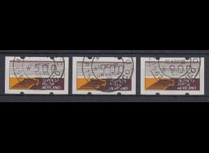 Mexiko Klüssendorf-ATM weißes Pap. Mi.-Nr. 1x Satz 500-700-900 mit ET-O