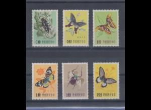 China Taiwan 1958 Schmetterlinge Satz 6 Werte Mi.-Nr. 282-287 kpl. **