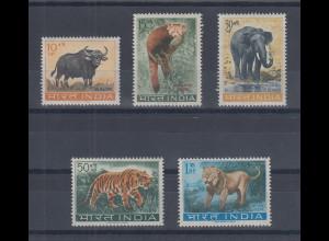 Indien 1963 Tiere Satz 5 Werte Mi.-Nr. 358-362 kpl. **