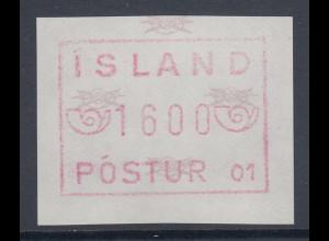 Island Frama-ATM 1.Ausgabe Aut.-Nr. 01 graulila Wert 1600 **