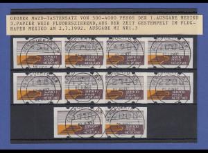 Mexiko Klüssendorf-ATM weißes Pap. fl. Mi.-Nr. 1z Satz 10 Werte O 2.6.92