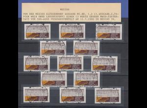 Mexiko Klüssendorf-ATM weißes Pap. Mi.-Nr. 1x Satz 13 Werte O 12.7.90