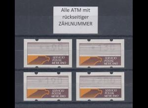Mexiko Klüssendorf-ATM weißes Pap. fl. Mi.-Nr. 1z Satz 90-130-190-200 ** mit ZN