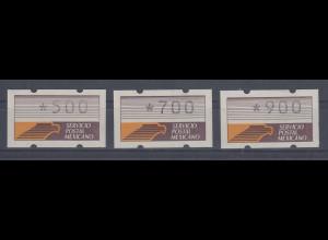 Mexiko 1990 Klüssendorf-ATM Mi.-Nr. 1x Satz 3 Werte 500-700-900 **