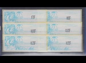 Neukaledonien ATM Mi.-Nr. 1.2e Satz 6 Werte 70-80-100-105-135-155 **
