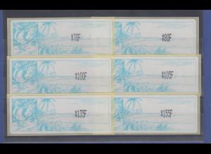 Neukaledonien ATM Mi.-Nr. 1.2e großer Satz 6 Werte 70-155 F **