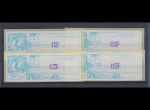 Neukaledonien ATM Mi.-Nr. 1.2f Porto-Satz 4 Werte 70-100-135-155 F **