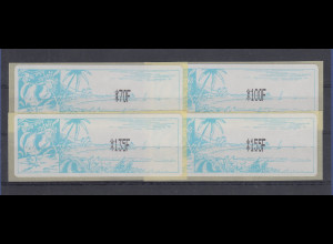 Neukaledonien ATM Mi.-Nr. 1.2e Porto-Satz 4 Werte 70-100-135-155 F **
