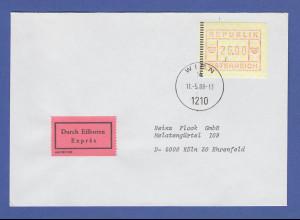 Österreich FRAMA-ATM 2.Ausgabe hoher Wert 26.00 auf Express FDC Wien gel. n. D