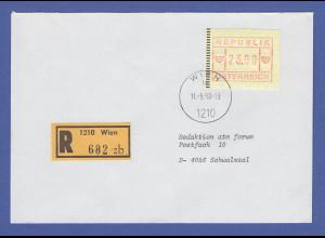 Österreich FRAMA-ATM 2.Ausgabe hoher Wert 23.00 auf Express FDC Wien gel. n. D