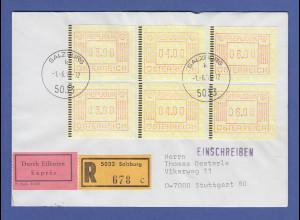 Österreich FRAMA-ATM 1.Ausgabe 6 Werte auf R-Express FDC Salzburg -> D