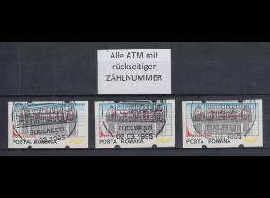 Rumänien 3 ATM 500,940,1440 mit ET-Sonder-O und rückseitiger Zählnummer