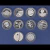 Lot 10 verschiedene 10€-Gedenkmünzen in spiegelglanz / PP, verkapselt
