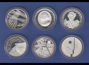 Lot 6 verschiedene 10€-Gedenkmünzen in spiegelglanz / PP, verkapselt