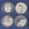 Lot 4 verschiedene 10€-Gedenkmünzen in spiegelglanz / PP, verkapselt