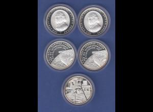 Lot 5 Stück 10€-Gedenkmünzen in spiegelglanz / PP, teils doppelt, verkapselt